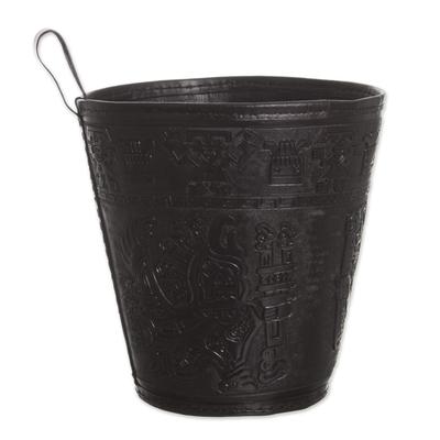 Leather waste basket, 'Warrior Guard' - Artisan Crafted Inca Leather Brown Waste Basket