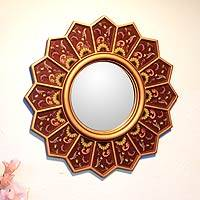 Mirror, 'Red Sunflower Fan' - Floral Reverse Painted Mirror in Red and Gold