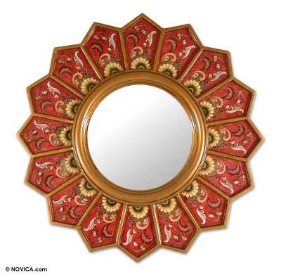Mirror, 'Red Sunflower Fan' - Red Sunflower Reverse Painted Glass Wall Mirror