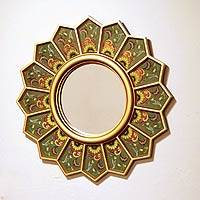 Mirror, 'Green Sunflower Fan' - Reverse Painted Green Glass Mirror for the Wall
