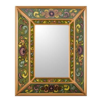 Wall mirror, 'Coat of Arms' - Green Reverse Painted Hand Crafted Peruvian Mirror