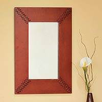 Leather mirror, 'Brown Shoelaces' - Leather mirror