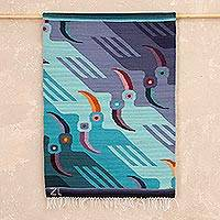 Wool tapestry, 'Lilac Toucans' - Wool tapestry