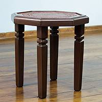 Leather accent table, 'Memories' (small) - Handcrafted Contemporary Leather Accent Table