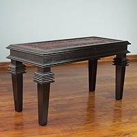 Leather coffee table, 'Elegance' - Handcrafted Contemporary Leather Wood Coffee Table