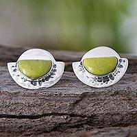 Serpentine button earrings, 'Sipan Moons' - Unique Modern Sterling Silver and Serpentine Earrings