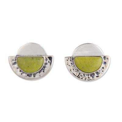 Unique Modern Sterling Silver and Serpentine Earrings