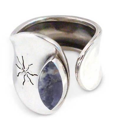 Handcrafted Modern Sterling Silver and Sodalite Wrap Ring