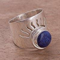 Sodalite cocktail ring, 'Blue Sun'