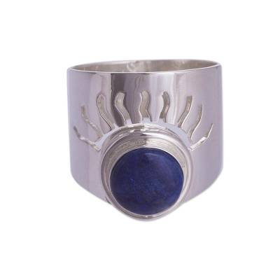 Sodalite cocktail ring, 'Blue Sun' - Sun and Moon Sterling Silver Single Stone Sodalite Ring
