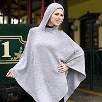 Alpaca blend poncho, 'Steel Riding Hood'