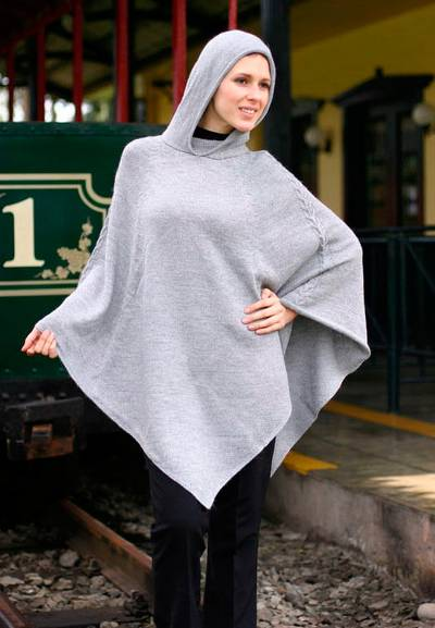 Alpaca blend poncho, 'Steel Riding Hood' - Grey Alpaca Blend Poncho with Hood