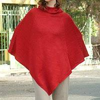 Alpaca blend poncho, 'Red Riding Hood' - Unique and Stylish Alpaca Handcrafted Poncho in Red