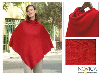 Alpaca blend poncho, 'Red Riding Hood' - Alpaca Blend Poncho