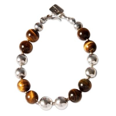 Tiger's eye beaded bracelet, 'Coffee Bean' - Unique Sterling Silver Beaded Tiger's Eye Bracelet