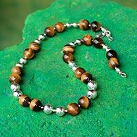 Tiger's eye beaded necklace, 'Coffee Bean'