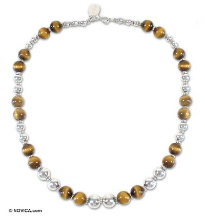 Tiger's eye beaded necklace, 'Coffee Bean' - Handmade Beaded Tiger's Eye Necklace