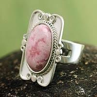 Rhodonite cocktail ring, 'Rose Aristocrat'