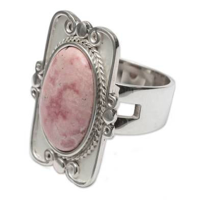 Rhodonite cocktail ring, 'Rose Aristocrat' - Rhodonite And Silver Cocktail Ring