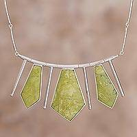 Serpentine choker, 'Splendor' - Inca Serpentine And Sterling Silver Art Choker Necklace
