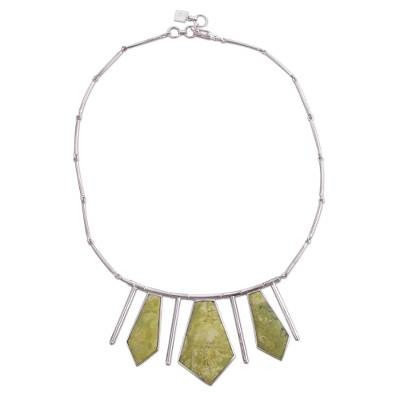 Inca Serpentine And Sterling Silver Art Choker Necklace