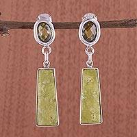 Serpentine dangle earrings, 'Fortress' - Hand Made Serpentine Dangle Earrings