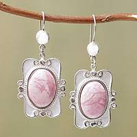Rhodonite dangle earrings, 'Rose Aristocrat' - Oval Rhondonite Earrings in Sterling Silver Antique Backing