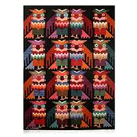 Wool tapestry, 'Bright Night Owls' - Wool tapestry