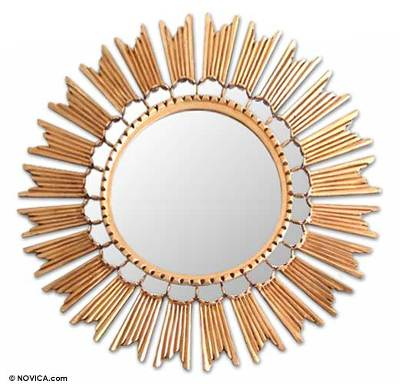Mirror, 'Sun Princess' - Unique Sun Gilded Wood Wall Mirror