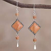 Jasper dangle earrings, 'Legacy' - Unique Sterling Silver Jasper Dangle Earrings