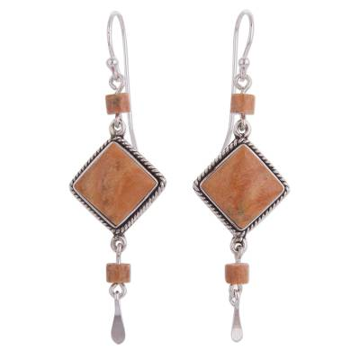 Jasper dangle earrings, 'Legacy' - Unique Sterling Silver Jasper Dangle Earrings