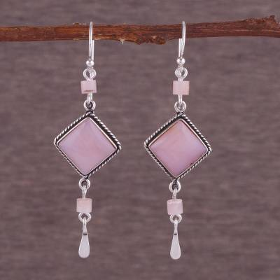 Opal earrings, 'Rose Legacy' - Handmade Sterling Silver Dangle Opal Earrings