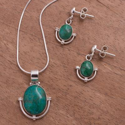 Chrysocolla jewelry set, 'Mystique' - Chrysocolla jewellery set