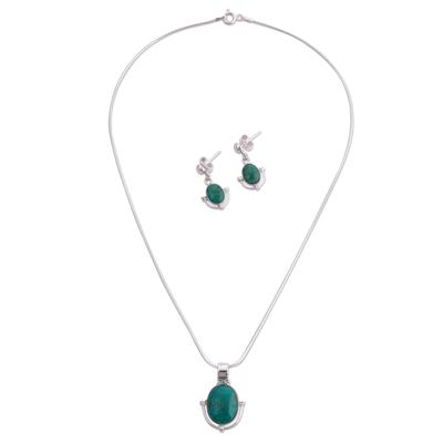 Chrysocolla jewelry set