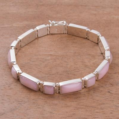 Rose quartz wristband bracelet, 'Sweetheart' - Rose quartz wristband bracelet