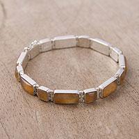 Opal wristband bracelet, 'Sweetheart' - Handcrafted Opal Wristband Bracelet from Peru