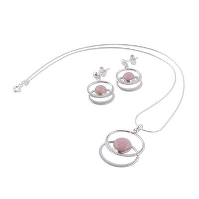 Rose quartz jewelry set
