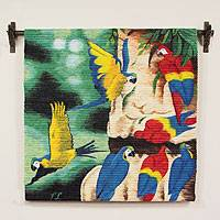 Wool tapestry, 'Jungle Macaws' - Wool tapestry