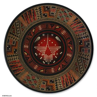 Aged Cuzco plate, 'Hummingbird from Nazca' - Handcrafted Cuzco Ceramic Decorative Plate