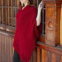 Alpaca blend poncho, 'Red Latitudes' - Hand Crafted Peruvian Alpaca Wool Women's Poncho