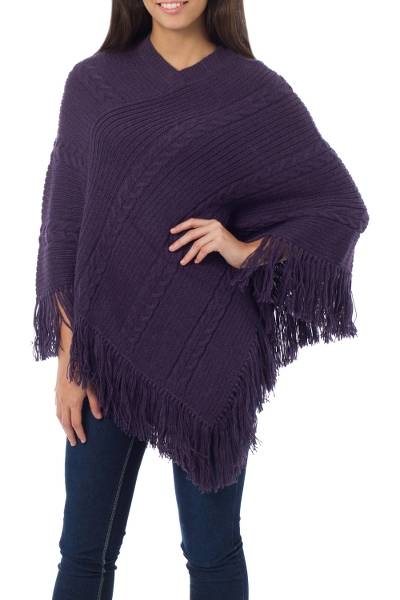Alpaca blend poncho, 'Double Plum Braids' - Poncho Alpaca Blend Purple Knit for Women