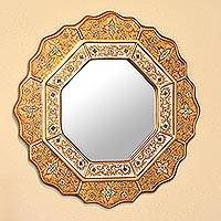 Reverse painted glass mirror, 'Golden Star' - Collectible Reverse Painted Glass Handmade Mirror