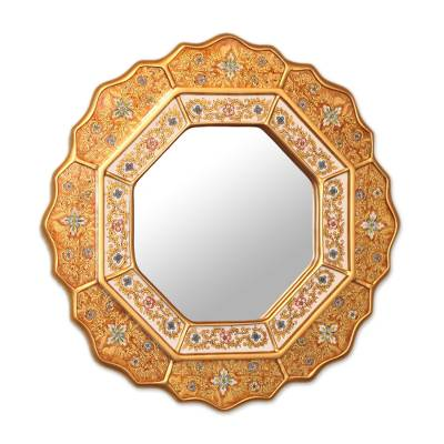 Mirror, 'Golden Star' - Collectible Reverse Painted Glass Handmade Mirror