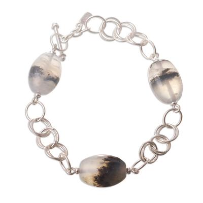 Opal link bracelet, 'Secrets' - Opal link bracelet