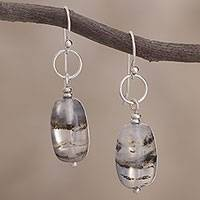 Opal dangle earrings, 'Secrets' - Opal dangle earrings