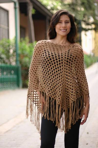 100% alpaca poncho, 'Desert Dream' - Unique Women's Alpaca Wool Brown Poncho