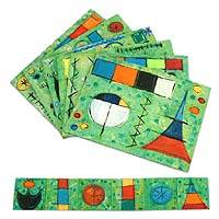 Placemats and coasters, 'Surreal Fantasy' (set of 6) - Hand-Painted Placemat and Coaster Set of 6