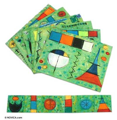 Placemats and coasters, 'Surreal Fantasy' (set of 6) - Wood Table Linen Set (Set of 6) Placemat and Coasters