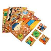 Placemats and coasters, 'Playtime' (set of 4) - Placemats and coasters (Set of 4)
