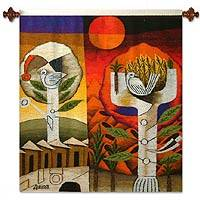 Wool tapestry, 'Messenger of Peace' - Wool tapestry